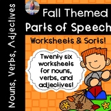 Fall/Autumn Parts of Speech: Worksheets and Sorts