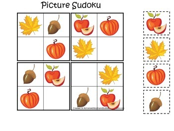 Fall Autumn Picture Sudoku preschool educational game.  Child care learning