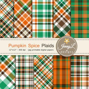 Fall Autumn Pumpkin Spice Plaid Digital Papers