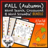 Fall (Autumn) Puzzles (BUNDLE!) Word Search, Crossword Puzzle & Word Scramble!