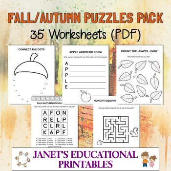 Fall/Autumn Puzzles Pack