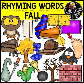 Fall/Autumn Rhyming Words Clip Art Set {Educlips Clipart}