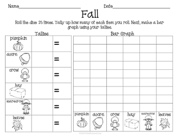 Fall Autumn Roll Tally Graph Math Activity Center Set