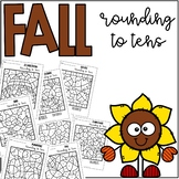 Fall Autumn Rounding to Tens Coloring
