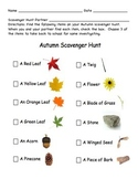 Fall/ Autumn Scavenger Hunt