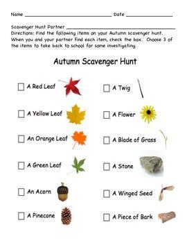 Fall/ Autumn Scavenger Hunt