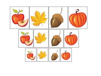 Fall Autumn Size Sorting preschool educational game.  Child care learning