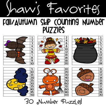 Fall/Autumn Skip Counting Number Puzzles {30 Puzzles}