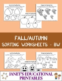 Fall/Autumn Sorting Worksheets - Black and White