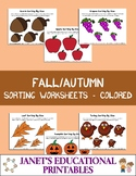 Fall/Autumn Sorting Worksheets - Colored