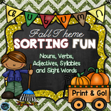 Fall Sorts - Nouns, Verbs, Adjectives, Syllables, Sight Words