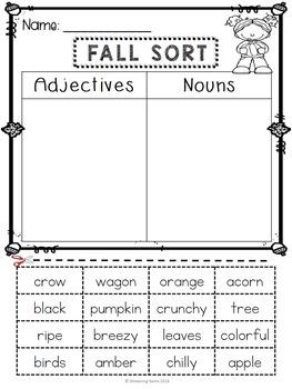 Fall Sorts - Nouns, Verbs, Adjectives, Syllables, Sight Words