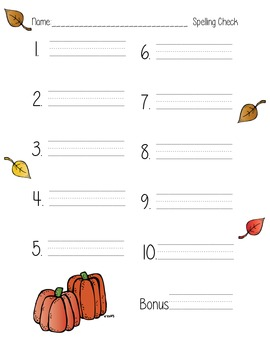 Fall Autumn Spelling Test Template