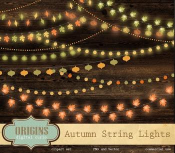Fall Autumn String Lights, Garden Leaf Lights Vector Clipa