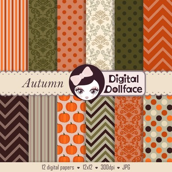 Fall / Autumn / Thanksgiving Digital Paper Backgrounds