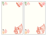 Fall/Autumn/Thanksgiving Stationery (2 on one sheet)
