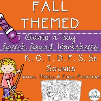 Fall/Autumn Themed Speech Sound Worksheets- /k g t d f s sh/ sounds. No Prep.