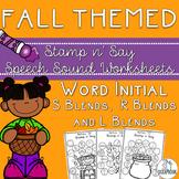 Fall/Autumn Themed Speech Sound Worksheets- /s/ blends, /l