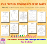 Fall-Autumn Tracing Coloring Pages - Set of 10