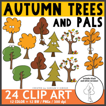 Fall/Autumn Trees Clip Art + Coloring Pages