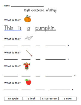 Fall/Autumn Vocab, Literacy, and Writing unit for K-2 newcomers ESL/ELL!