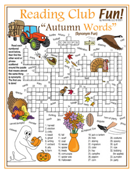 Fall / Autumn Vocabulary (Synonyms) Crossword Puzzle