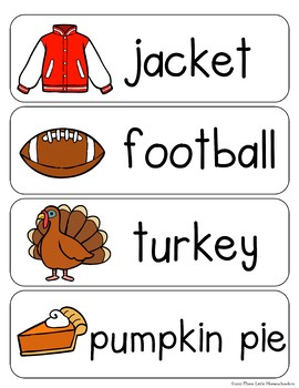 Fall Autumn Vocabulary Word Wall Cards plus Write & Wipe Version