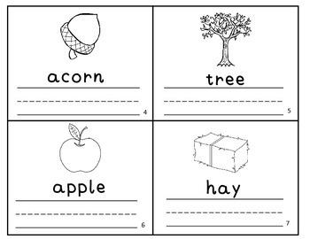 Fall Autumn Vocabulary Writing Practice Mini-Book