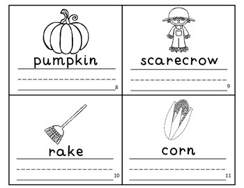 Fall Autumn Vocabulary Writing Practice Mini-Book