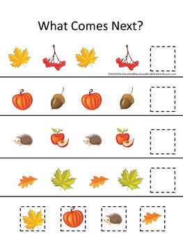 Fall Autumn What Comes Next preschool educational game.  Child care learning