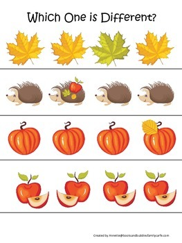 Fall Autumn Which is Different preschool educational game.  Child care learning