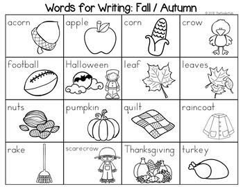 Fall / Autumn Word List - Writing Center