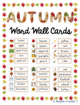 Fall & Autumn Word Wall/ Word Build Cards