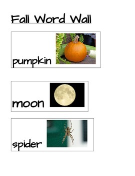 Fall, Autumn Word Wall Words
