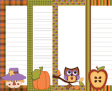 Fall Autumn Writing Paper - 3 Designs - ( 7 1/2x10 )