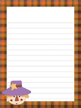 Fall Autumn Writing Paper - 3 Designs - ( 7 1/2x10 )