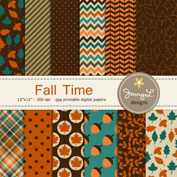Fall Autumn digital paper