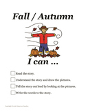 Fall/Autumn story w/ seasonal clothing, weather & activities - read, draw, write