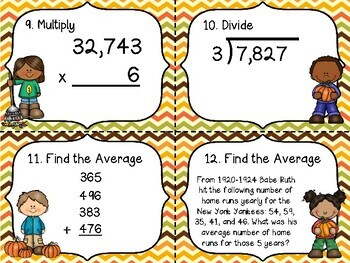 Finding Averages & More Fall Math Task Cards (Multiply, Divide, & Averages)