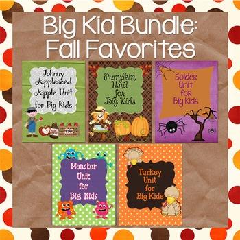 Appleseed, Pumpkins, Spiders, Monsters, Turkeys: Fall BUNDLE for Big Kids