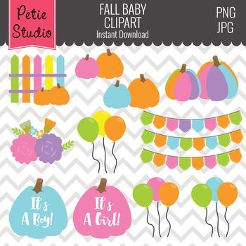 Fall Baby Shower Clipart // Pumpkin Clipart // Balloon Clipart - Fall123
