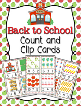 Fall Back to School Count and Clip Cards Numbers 1-12