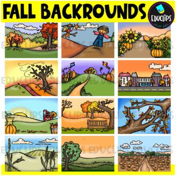 Fall Backgrounds Clip Art Bundle {Educlips Clipart}