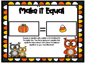 Fall Balanced Equations Math Center - Understanding the Equal Sign - 1.OA.D.7