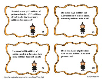 Fall Basic Operations Word Problems Task Cards