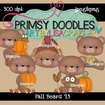 Fall Bears '13  300 dpi Clipart
