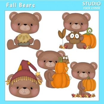 Fall Bears Clip Art Color  personal & comm use Primsy Resale