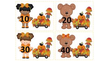 Fall Bears Skip Counting 10's