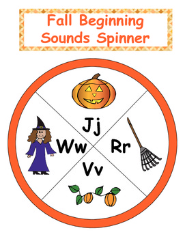 Fall Beginning Sound Spinner Games, Recording Sheets and Cards - 25 pages