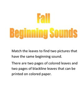 Fall Beginning Sounds